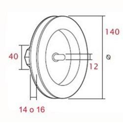 Polea pvc con espiga 140 milímetros eje 40 cinta 9-14-16 milímetros