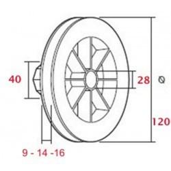 Polea pvc con rodamiento 120-140 milímetros o eje 40 cinta 9-14-16 milímetros