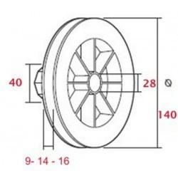 Medidas polea pvc rodamiento 120-140 milímetros o eje 40 cinta 9-14-16 milímetros