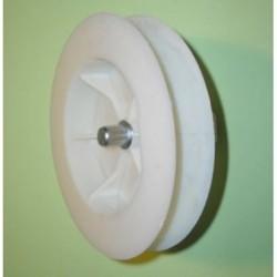 Polea pvc espiga 120-140 milímetros eje 40 cinta 18-20 milímetros
