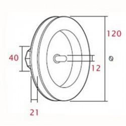 Medidas polea pvc con espiga 120 milímetros o eje 40 cinta 18-20 milímetros