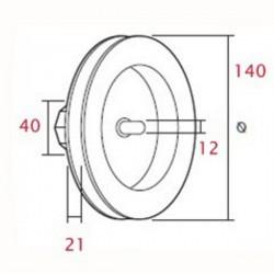 Medidas polea pvc con espiga 140 milímetros eje 40 cinta 18-20 milímetros