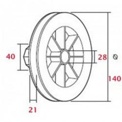Polea pvc con rodamiento 140 milímetros eje 40 cinta 18-20 milímetros