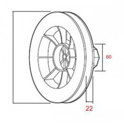 Medidas polea Pvc cinta de 22 milímetros eje 60 milímetros