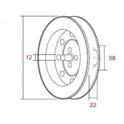 Medidas polea metálica eje 58 milímetros