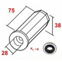 Contera pvc con rodamiento eje octogonal 40 milímetros