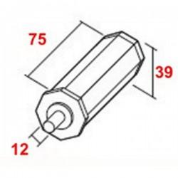 Contera pvc con espiga metálica 12 o eje octogonal 40 milímetros