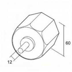Medidas contera metálica con espiga eje octogonal 60 milímetros