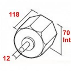 Medidas contera reforzada con espiga de 12 milímetros de diámetro eje de 70 milímetros