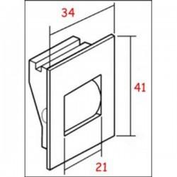 Esquema guía-cintas mono-block pvc frontal para cinta de 20 milímetros