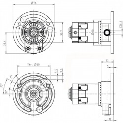 Medidas mecanismo cardan engranaje serie T