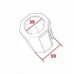 Medidas adaptador reductor eje octogonal de 60 milímetros a 40 milímetros