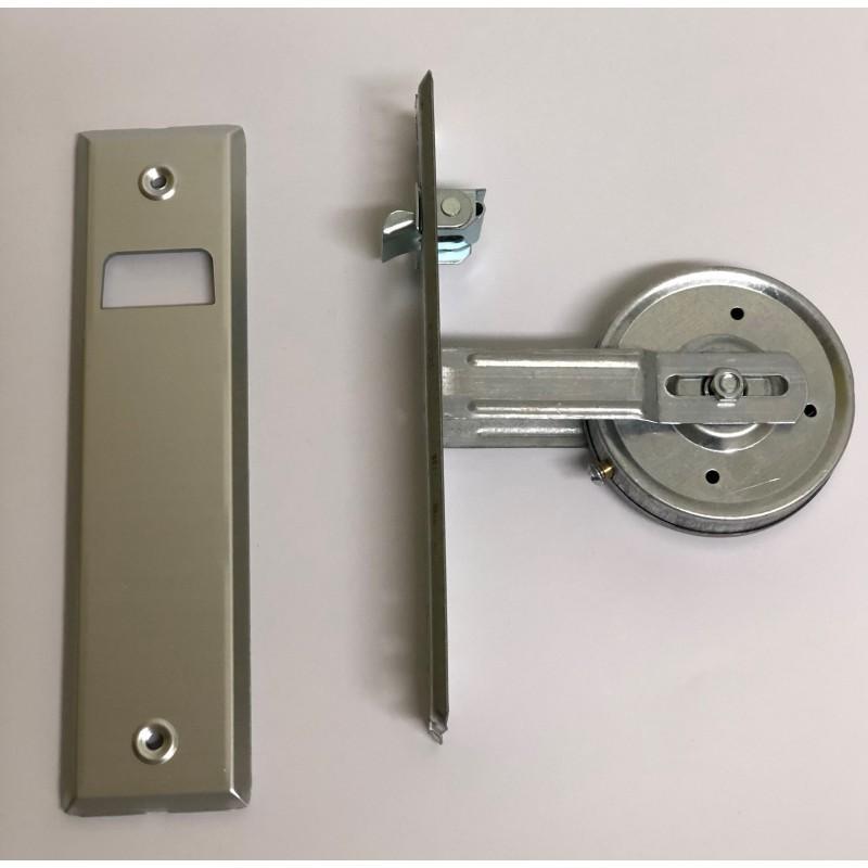 Vista lateral recogedor cinta 22 milímetros empotrable grande metal con embellecedor