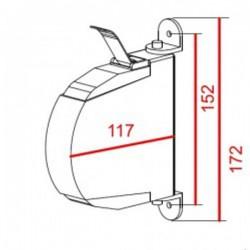 Medidas recoge cinta 14 milímetros pata metálica exterior abatible