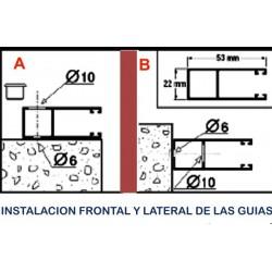 Formas de instalar las guías de aluminio incluidas.