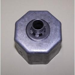 Contera metálica con tubo pasante para espiga 12 de diámetro eje octogonal 58 milímetros