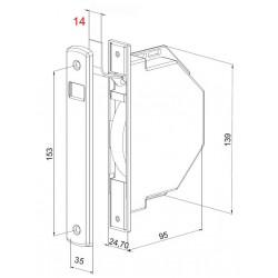 Medidas recogedor empotrable 14 milímetros ancho de cinta