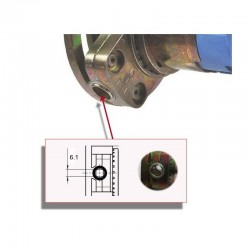 Detalle de accionado mediante varilla de 6 milímetros.